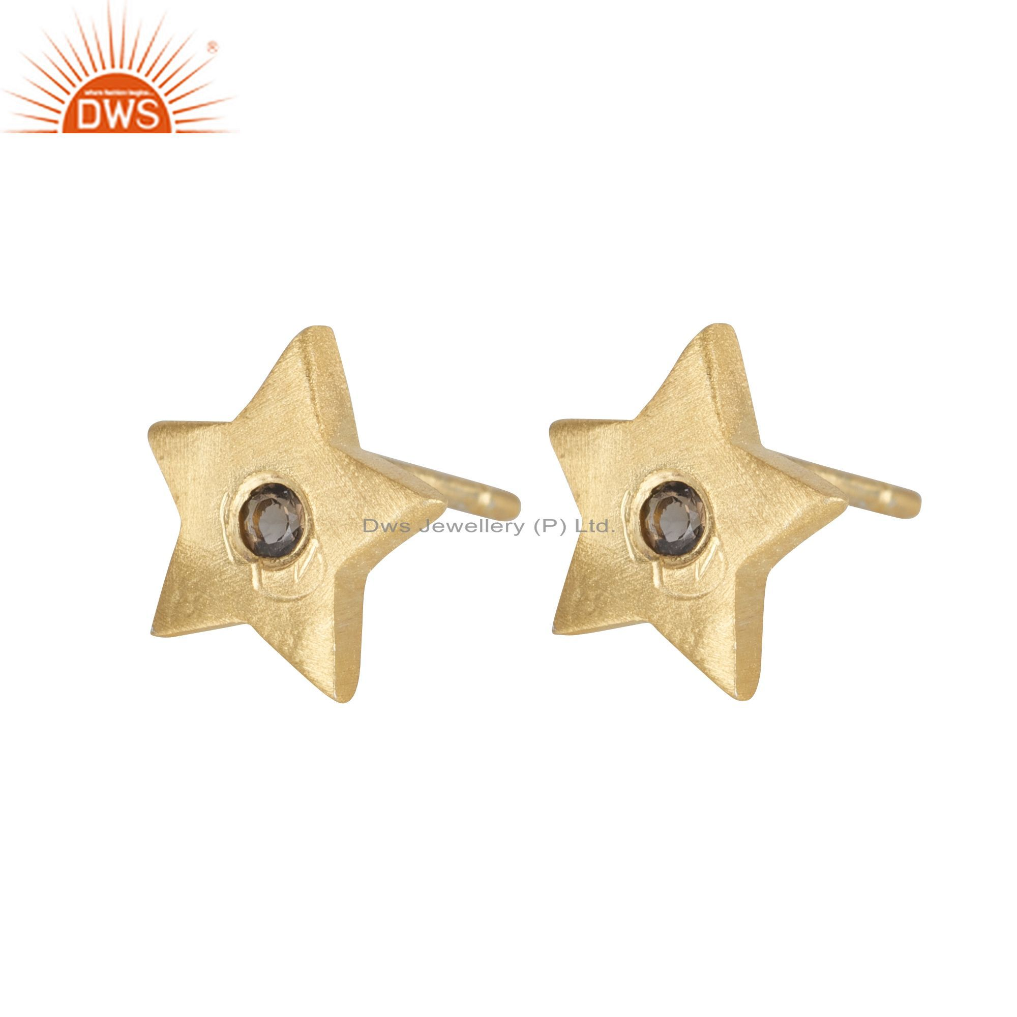 18K Yellow Gold Plated Sterling Silver Smoky Quartz Star Stud Earrings