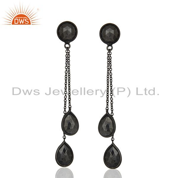 Hematite Gemstone 925 Black Silver Designer Earrings Manufacturers
