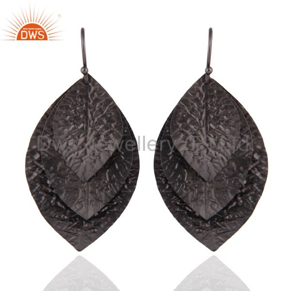 Black Oxidized 925 Sterling Silver Hammered Leaves Triple Drop Earrings