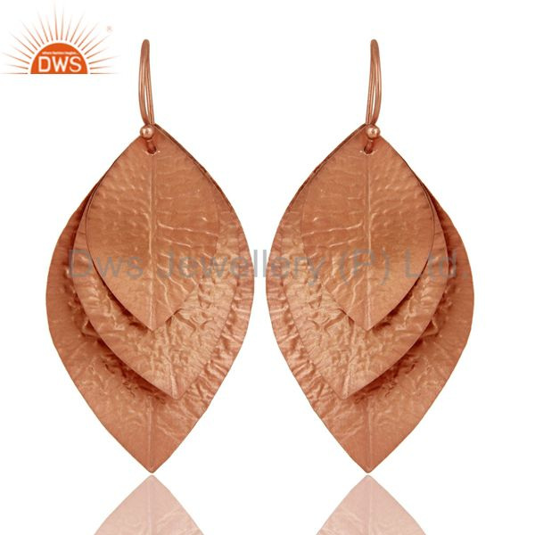 18K Rose Gold Plated Sterling Silver Hammered Leaves Triple Drop Earrings
