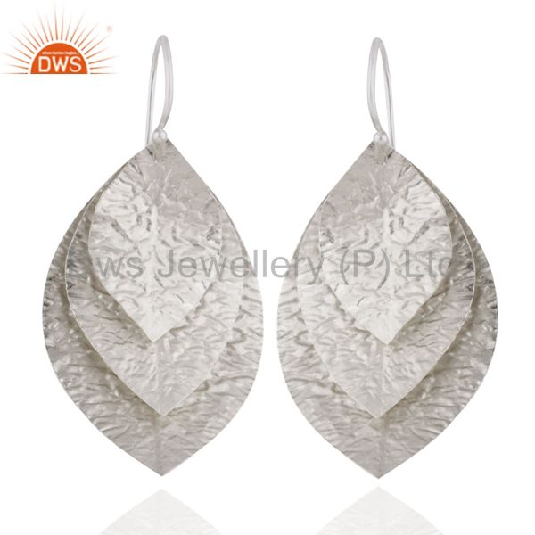 Handmade 925 Sterling Silver Hammered Leaves Triple Drop Earrings Jewelry