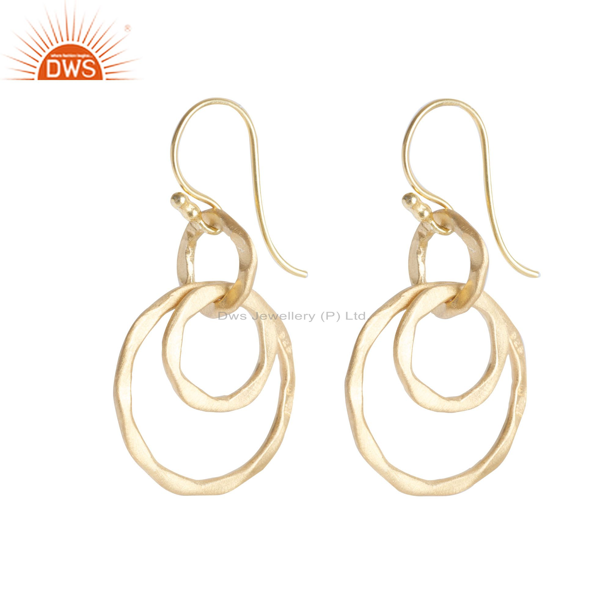 Circle Design Gold Plated Designer Plain SIlver Dangle Earrings Jewelry