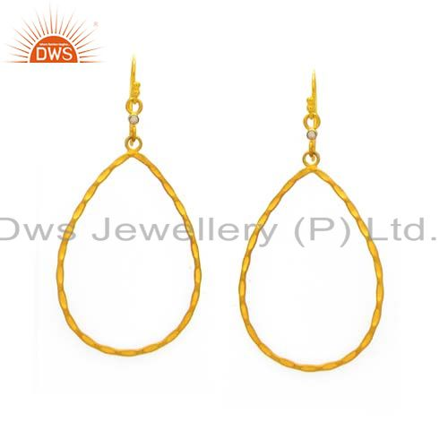 24K Yellow Gold Plated Sterling Silver White Topaz Hammered Teardrop Earrings