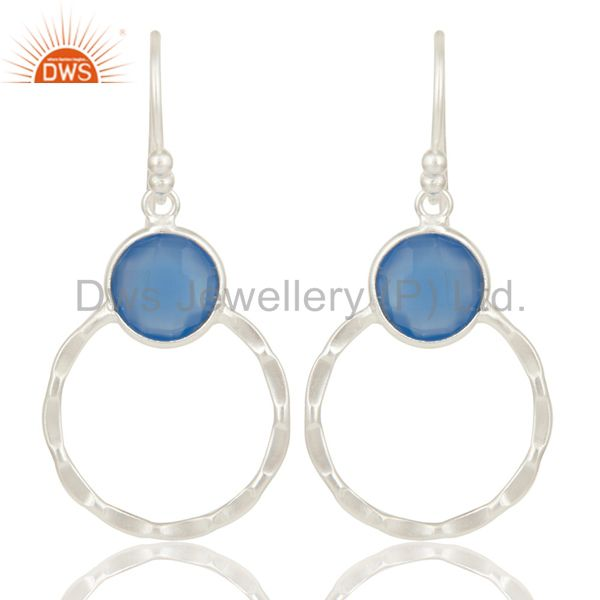 Indian Handmade Solid 925 Sterling Silver Dyed Blue Chalcedony Gemstone Earrings