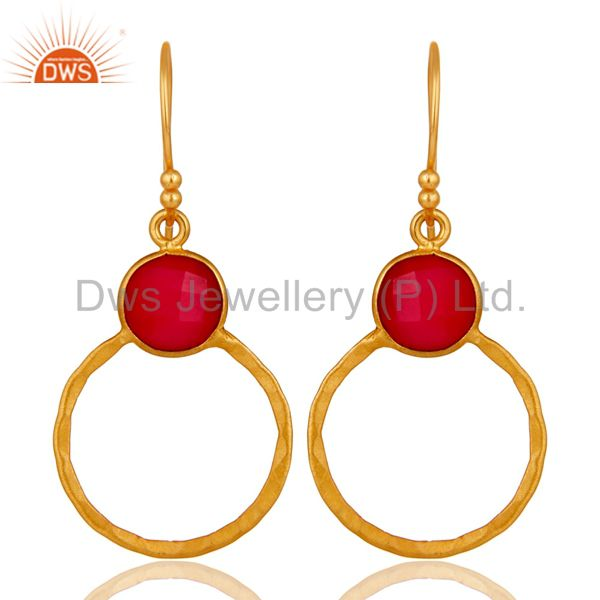 Red Aventurine 18K Gold Plated Sterling Silver Circle Earring