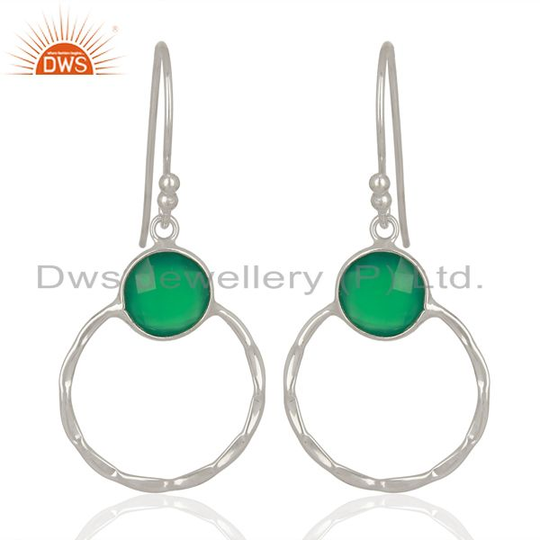 Green Onyx Double Circle 925 Sterling Silver White Rhodium Plated Earring