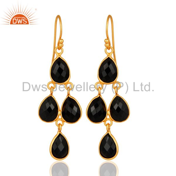 Faceted Black Onyx Gemstone Sterling Silver Dangle Earrings - Gold Plated