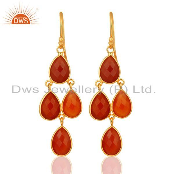 Faceted Natural Red Onyx Gemstone Dangle Earrings in 18K Gold On Silver 925
