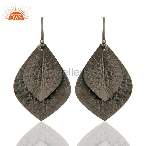 Black Rhodium Plated Sterling Silver Handcrafted Designer Dangle Earrings