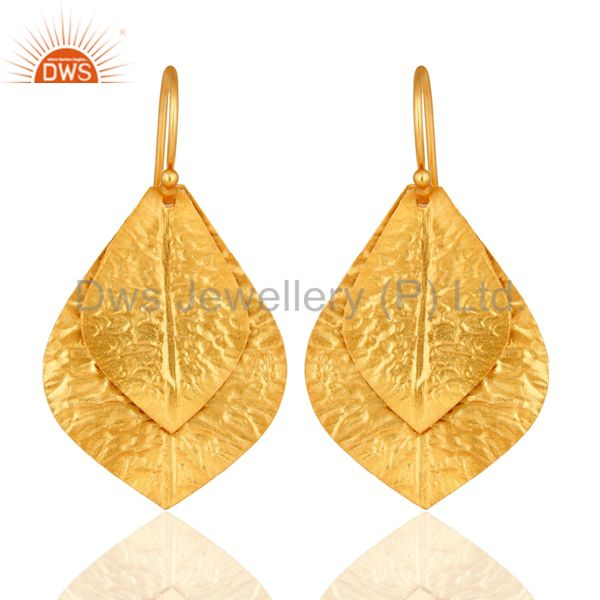 22K Yellow Gold Plated Sterling Silver Handcrafted Designer Dangle Earrings
