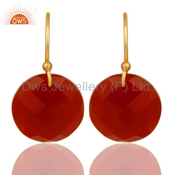 Red Onyx Faceted Round Shape Gemstone Dangle Earrings In 18K Gold On 925 Silver