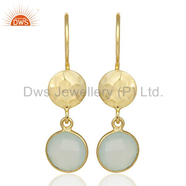 Aqua Chalcedony Dangle 14K Yellow Gold Plated Sterling Silver Earrings Jewelry