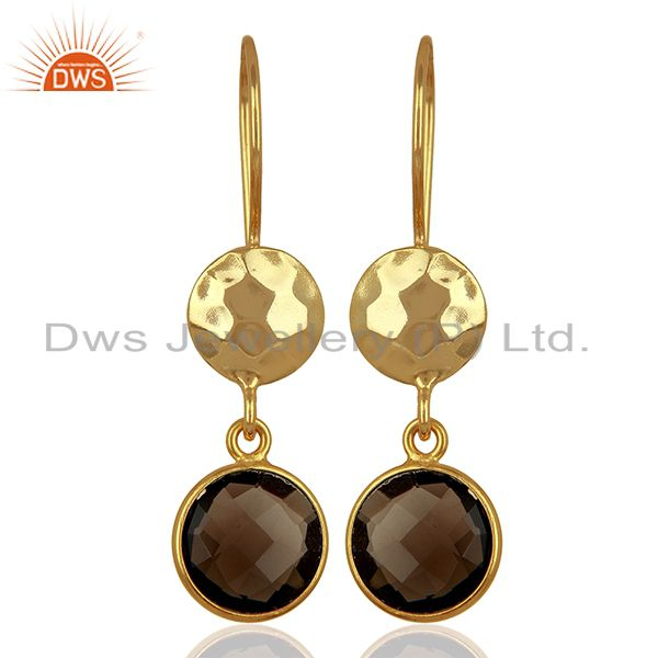 Smoky Quartz Gemstone Gold Plated Sterling Silver Earrings Wholesale