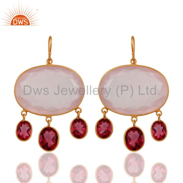 18K Gold Plated Sterling Silver Rose Quartz And Pink Corundum Bezel Earrings