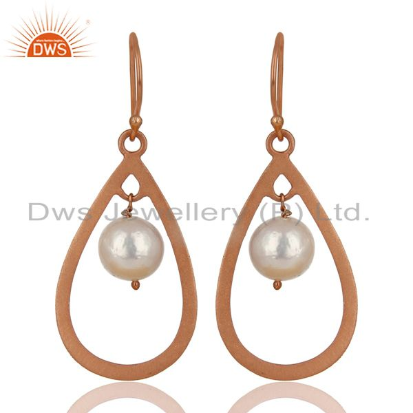 14K Rose Gold Plated Sterling Silver Pearl Beads Temple Design Drops Earrings