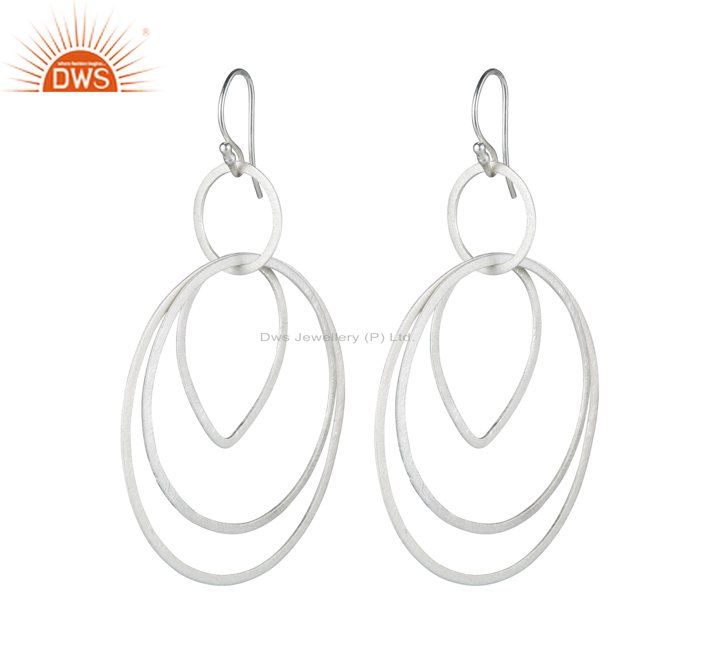 Handmade Solid Sterling Silver Brushed Finish Multi Circle Dangle Earrings