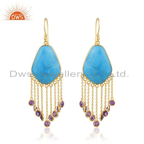 18K Yellow Gold Plated Sterling Silver Turquoise And Amethyst Chandelier Earring