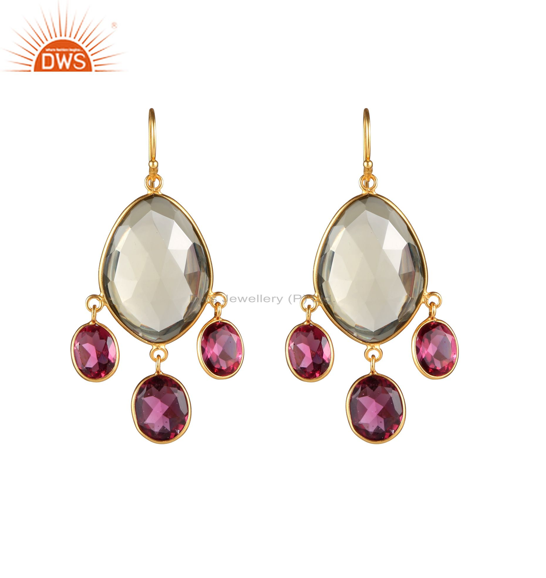 14K Yellow Gold Plated Sterling Silver Pink Corundum And Lemon Topaz Earrings