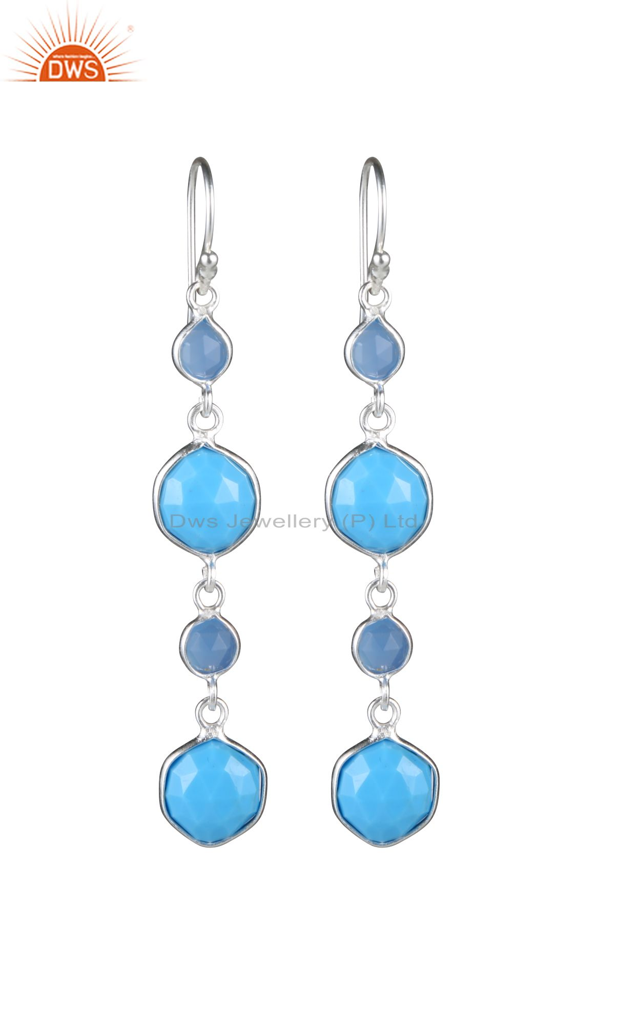 925 Sterling Silver Turquoise And Blue Chalcedony Bezel Set Dangle Earrings