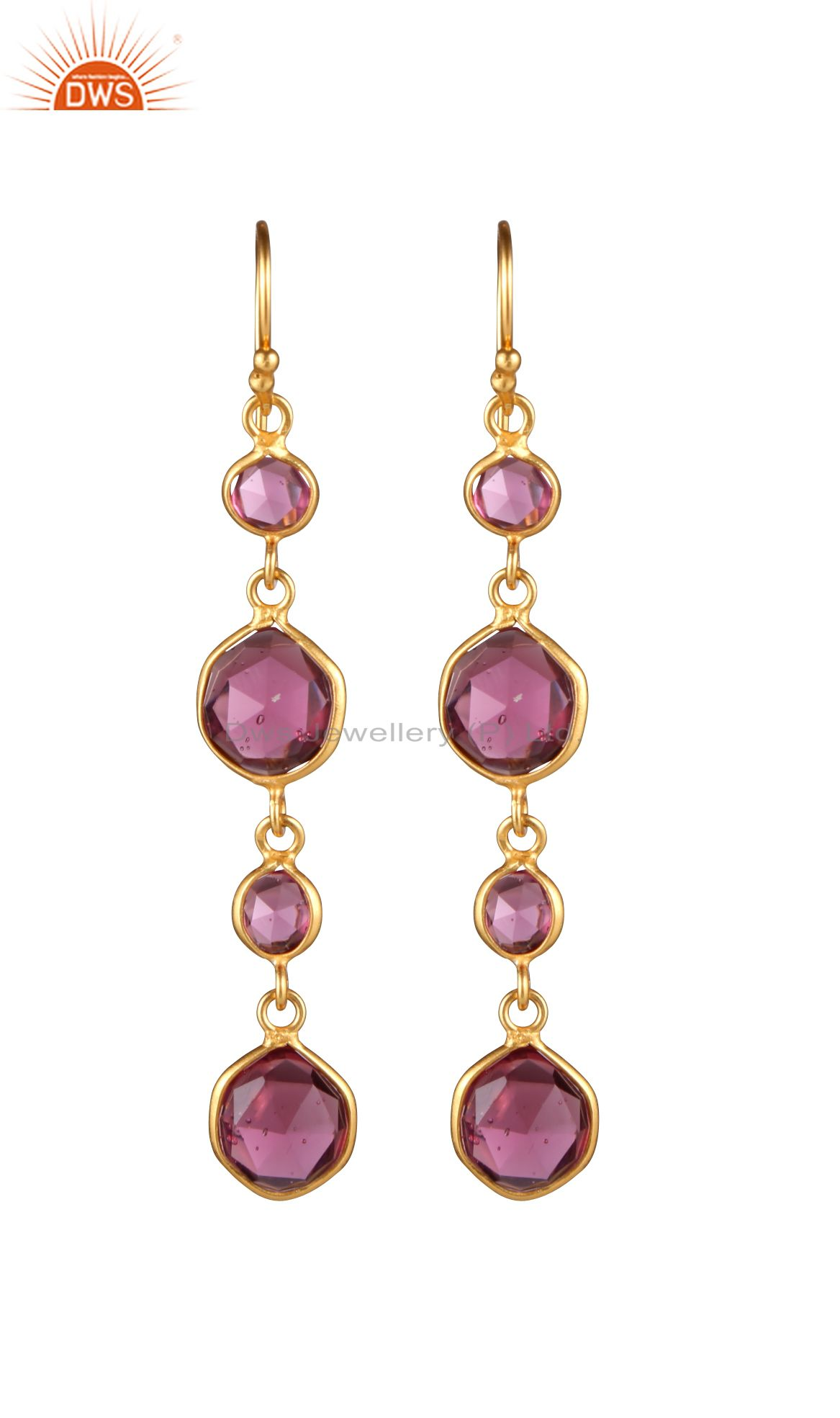 18K Yellow Gold Plated Sterling Silver Pink Corundum Bezel Set Dangle Earrings