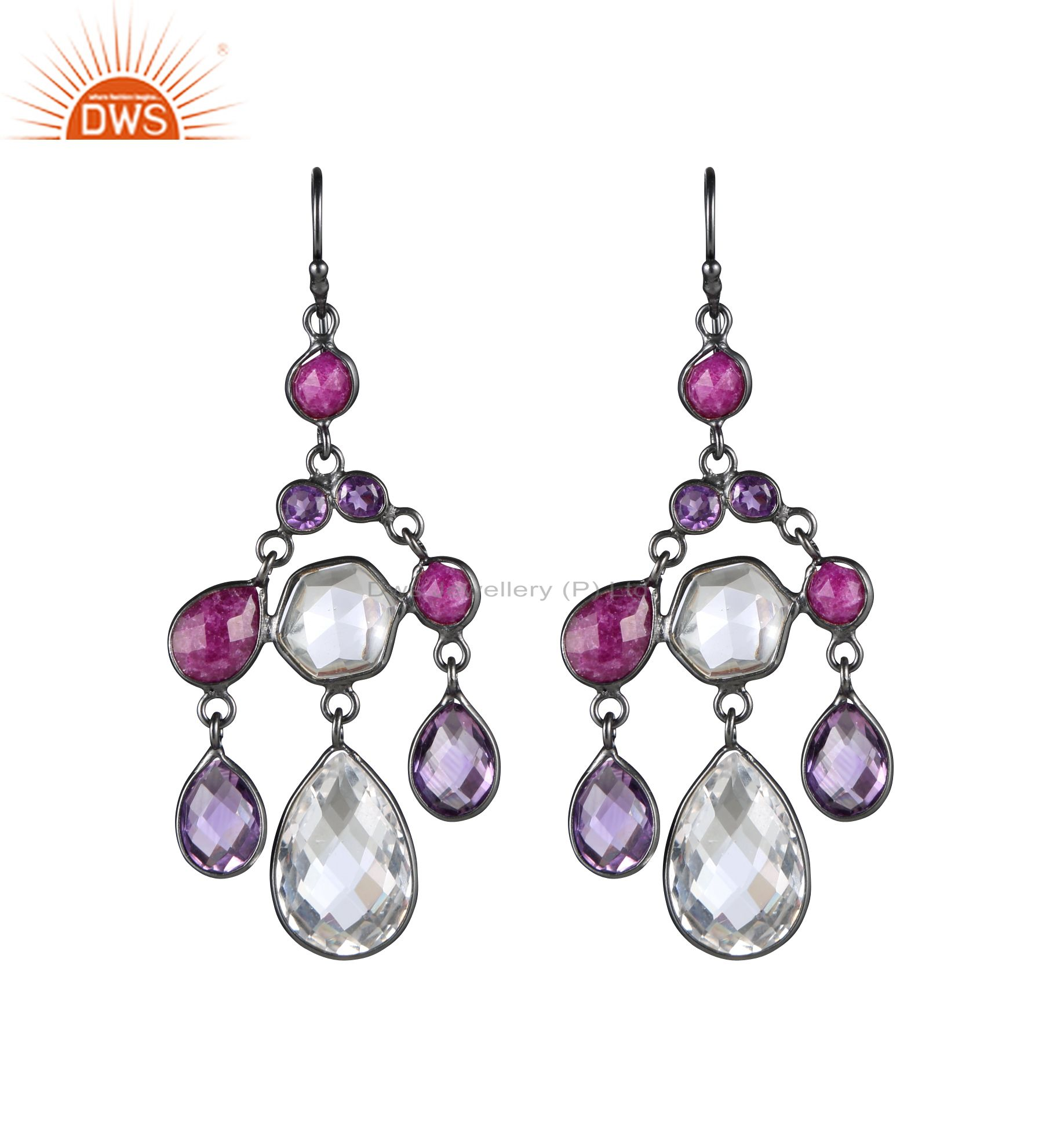 Oxidized Sterling Silver Amethyst, Dyed Ruby And Crystal Chandelier Earrings