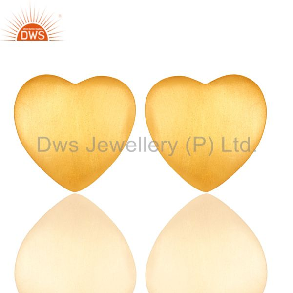 Hand Crafted Solid 925 Silver 18k Yellow Gold Plated Heart Shape Stud Earrings