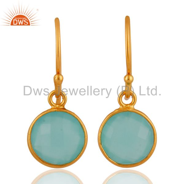 18K Yellow Gold Over Sterling Silver Faceted Aqua Blue Chalcedony Earrings