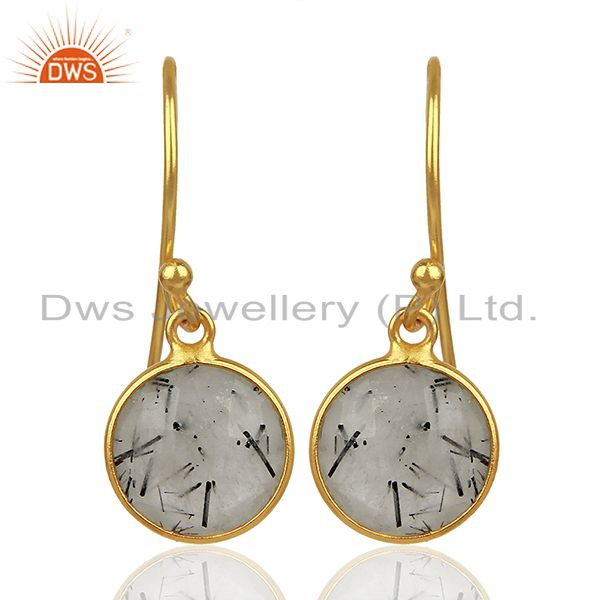 Black Rutile Gemstone Gold Plated Silver Earrings Jewelry Supplier