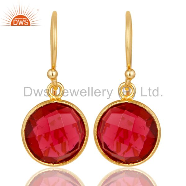 18K Yellow Gold Plated Sterling Silver Pink Corrundum Bezel Set Dangle Earrings