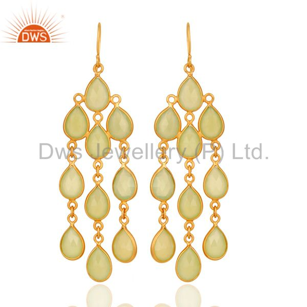 18K Yellow Gold Over Sterling Silver Green Chalcedony Gemstone Earrings