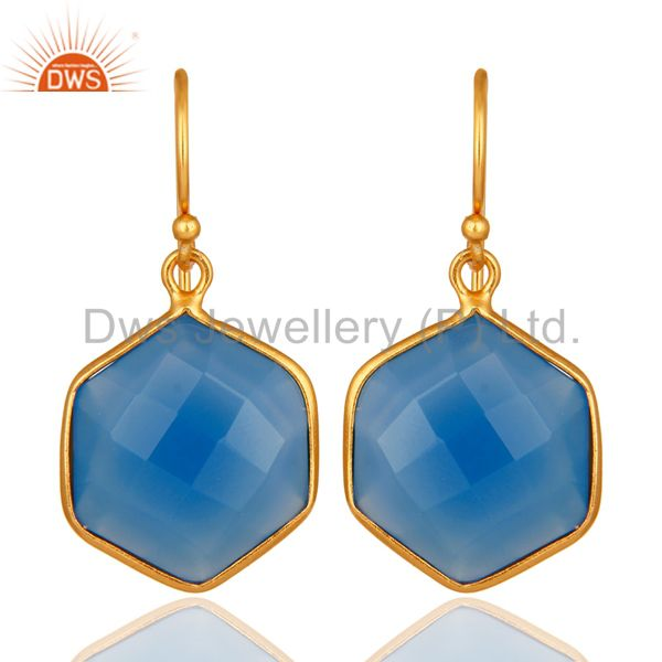 Dyed Blue Chalcedony Faceted 18K Gold Over 925 Silver Bezel-Set Dangle Earrings