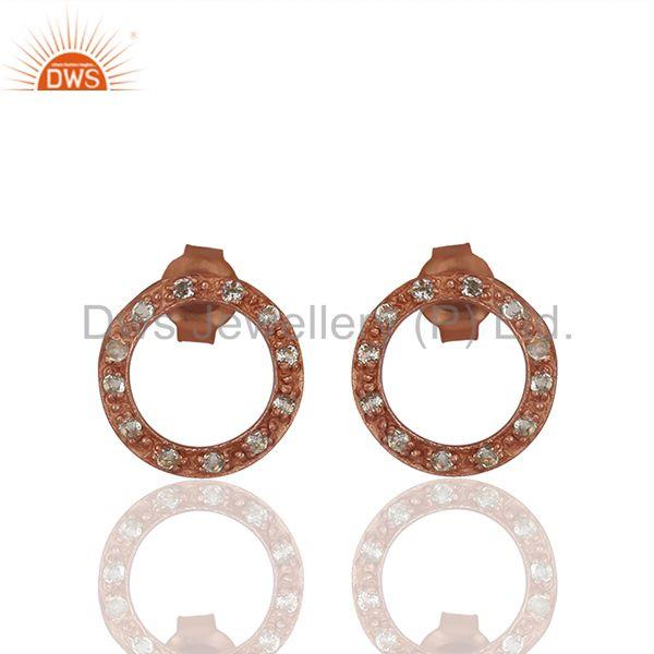 Rose Gold Plated White Topaz Circle Stud Earrings Manufacturer