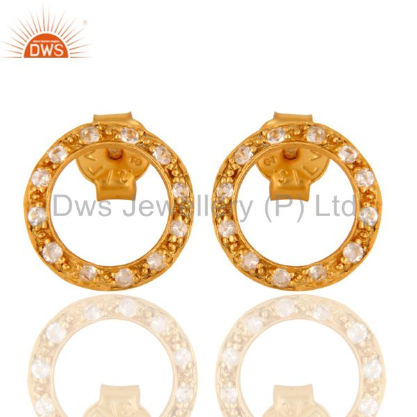 925 Sterling Silver Genuine White Topaz Stud Earrings With Gold Plated