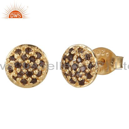 14K Yellow Gold Plated Sterling Silver Smoky Quartz Gemstone Stud Earrings