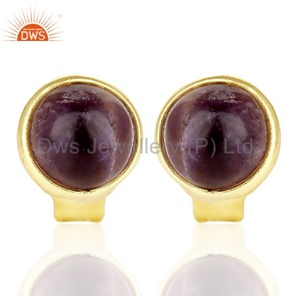 14k Yellow Gold Plated 925 Sterling Silver Amethyst Stud Earring Gift Jewelry