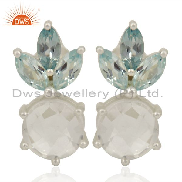Blue Topaz Crystal Quartz Studs Sterling Silver Earrings Gemstone Jewelry
