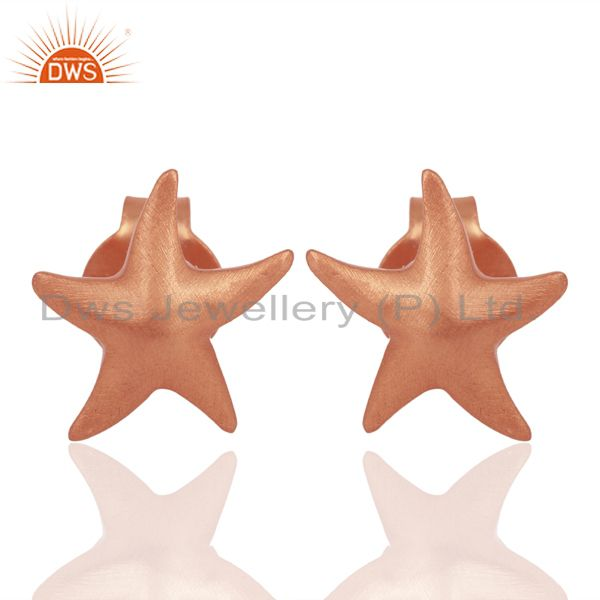 18K Rose Gold Plated 925 Sterling Silver Star Design Studs Earrings Jewelry