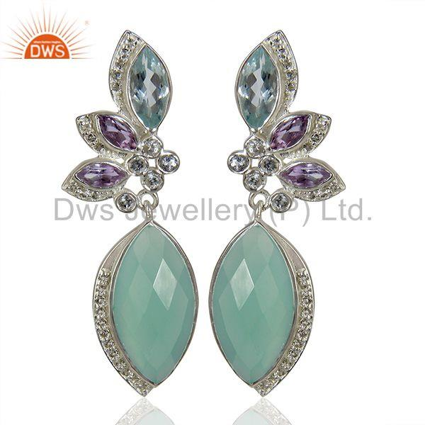 Aqua Chalcedony Gemstone White Topaz Gemstone Silver Earrings Jewelry