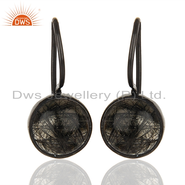 Black Rutile and 925 Silver Girls Drop Earrings Wholesale Supplier