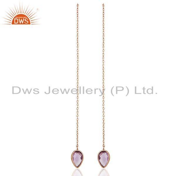 Rose Gold Plated 925 Silver Amethyst Gemstone Chain Earrings Jewelry