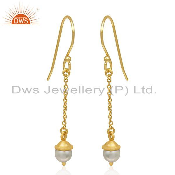 92.5 Sterling Silver Gold Plated Natural Pearl Earrings Manufacturer of Jewelry