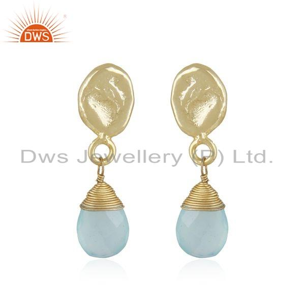 Aqua Chalcedony Gemstone Handmade Yellow Gold Plated Fashion Earrings