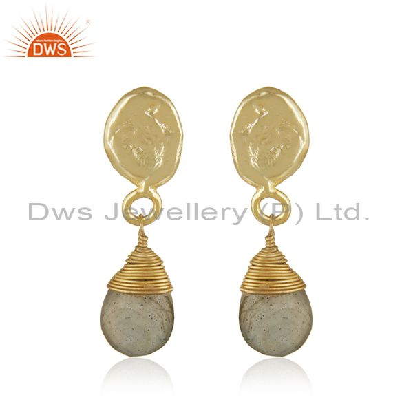 Labradorite Gemstone Designer Gold Plated Brass Fashion Drop Earrings