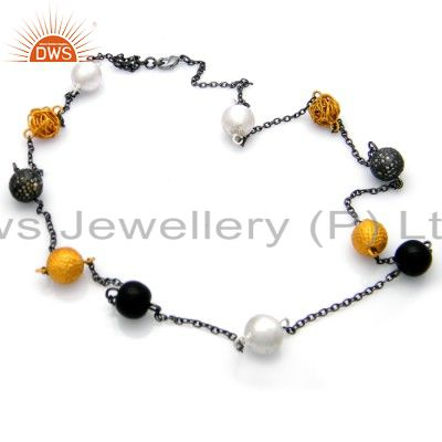 Oxidized And 18K Yellow Gold Plated Brass Cubic Zirconia Beads Chain Necklace