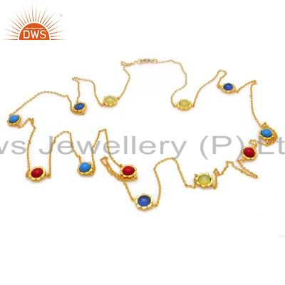 Aqua Blue Chalcedony, Coral And Turquoise 18K Gold Plated Silver Chain Necklace