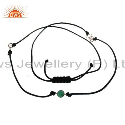 22K Yellow Gold Plated Brass Chrysocolla Gemstone Black Thread Necklace