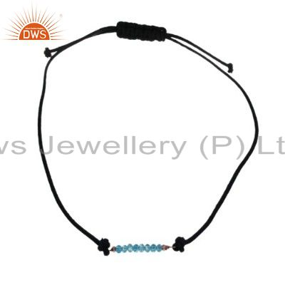 22K Yellow Gold Plated Brass Black Onyx Black Thread Adjustable Necklace