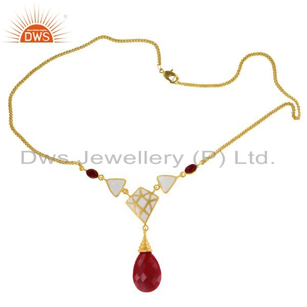 """14K Yellow Gold Over Brass Red Coral Chain 16"""" Inch Necklace With White Enamel"""