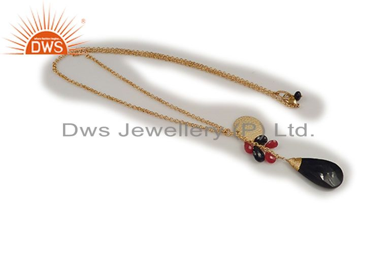 24K Yellow Gold Plated Brass Red Aventurine And Black Onyx Chain Necklace