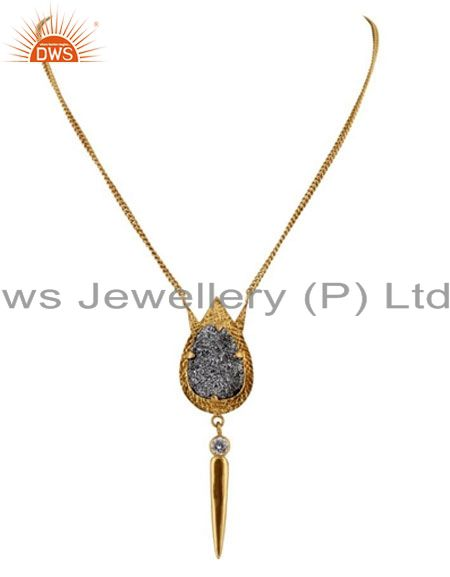 24K Yellow Gold Plated Brass Grey Druzy And CZ Spike Pendant With Chain